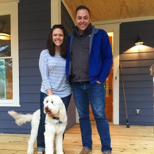 Graham, Honey and I in front of our new house